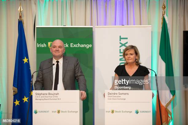 Deirdre Somers chief executive officer of Irish Stock Exchange Plc right and Stephane Boujnah chief executive officer Euronext NV pause during a news...