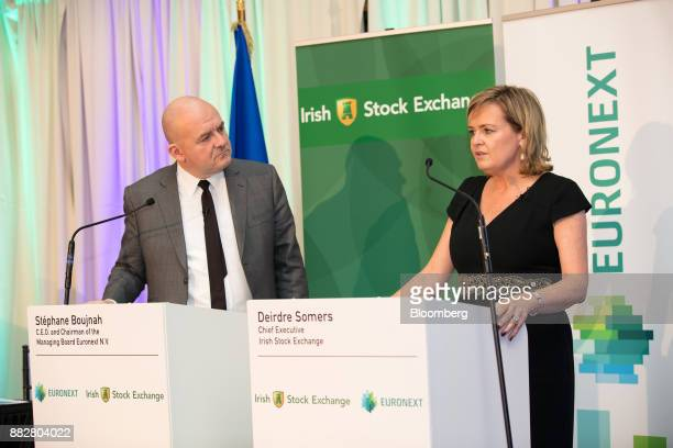 Deirdre Somers chief executive officer of Irish Stock Exchange Plc right speaks as Stephane Boujnah chief executive officer Euronext NV listens...