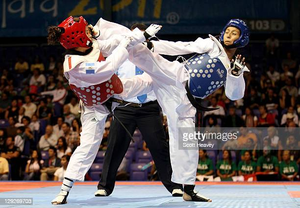Deireanne Estephany Morales of USA in action with Elizabeth Zamora of Guatemala during the Women's Taekwondo under 49KG category during Day One of...