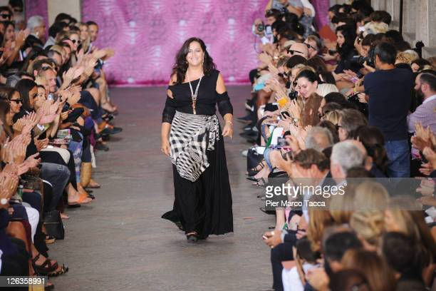 Deisnger Angela Missoni on the runway after the Missoni Spring/Summer 2012 fashion show as part Milan Womenswear Fashion Week on September 25, 2011...