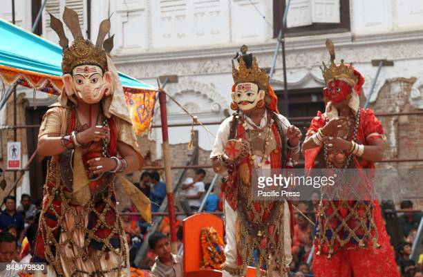 Deities perform religious dance during the 12 years Swetkali festival of Naradevi. The festival usually occurs once in 12 years by taking out parade...