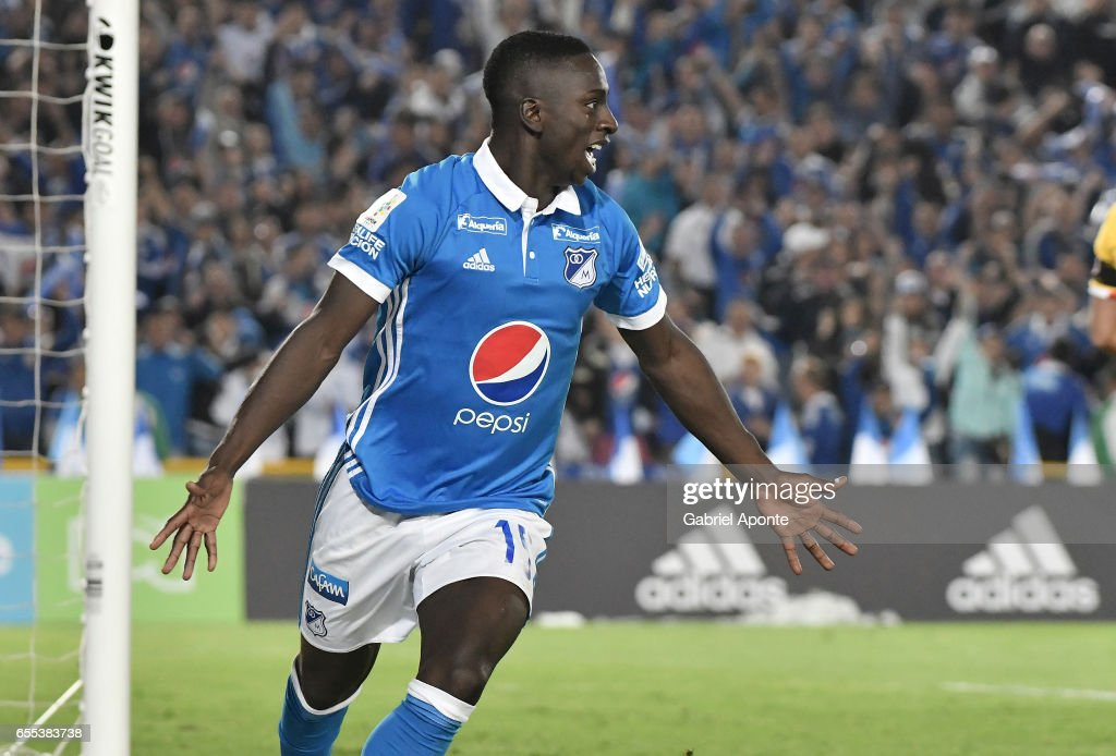 Deiver Machado of Millonarios celebrates after scoring the third goal of his team during the match between Millonarios and Independiente Santa Fe as part of the Liga Aguila 2017 at Nemesio Camacho El Campin Stadium on March 19, 2017 in Bogota, Colombia.
