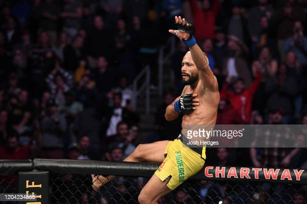 Deiveson Figueiredo celebrates after defeating Joseph Benavidez in their flyweight championship bout during the UFC Fight Night event at Chartway...