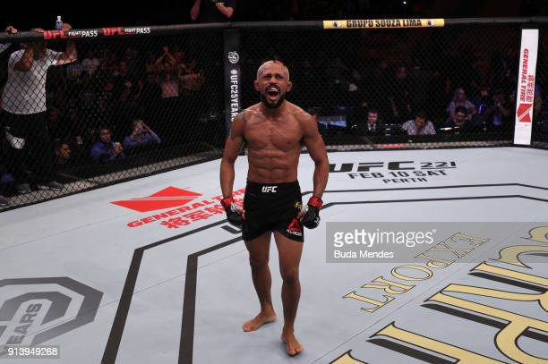 Deiveson Figueiredo of Brazil celebrates his victory over Joseph Morales in their flyweight bout during the UFC Fight Night event at Mangueirinho...