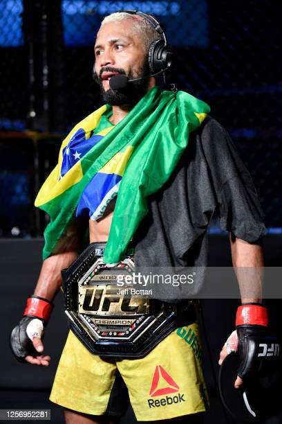 Deiveson Figueiredo of Brazil is interviewed after defeating Joseph Benavidez in their UFC flyweight championship bout during the UFC Fight Night...