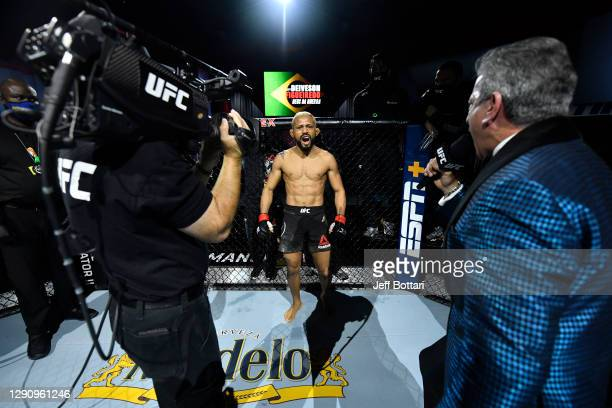 Deiveson Figueiredo of Brazil is introduced prior to his flyweight championship bout against Brandon Moreno of Mexico during the UFC 256 event at UFC...