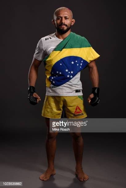 Deiveson Figueiredo of Brazil poses for a portrait backstage after his victory over John Moraga during the UFC Fight Night event at Pinnacle Bank...