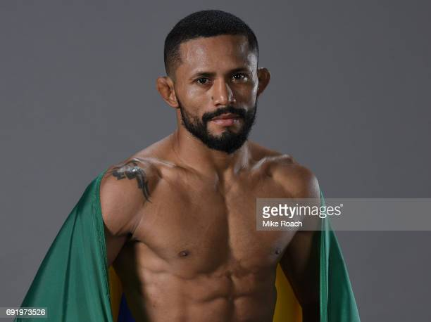 Deiveson Figueiredo of Brazil poses for a portrait backstage after his victory over Marco Beltran during the UFC 212 event at Jeunesse Arena on June...