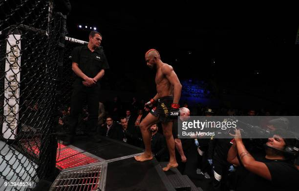 Deiveson Figueiredo of Brazil prepares to enter the Octagon before facing Joseph Morales in their flyweight bout during the UFC Fight Night event at...