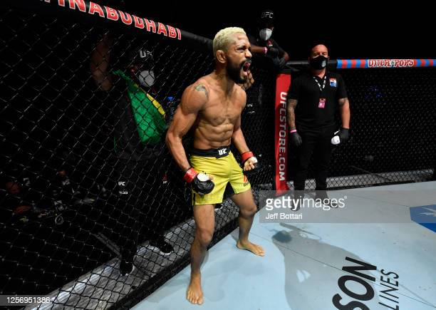 Deiveson Figueiredo of Brazil prepares to fight Joseph Benavidez in their UFC flyweight championship bout during the UFC Fight Night event inside...