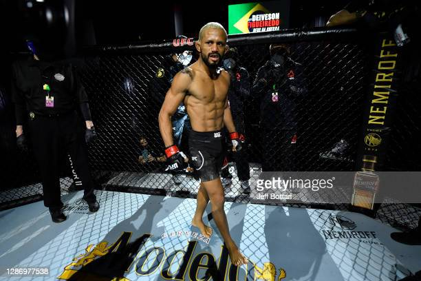 Deiveson Figueiredo of Brazil stands in his corner prior to his flyweight championship bout against Alex Perez during the UFC 255 event at UFC APEX...