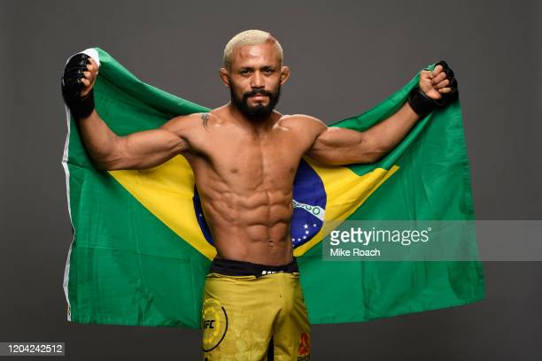 Deiveson Figueiredo poses for a post fight portrait backstage during the UFC Fight Night event at Chartway Arena on February 29 2020 in Norfolk...