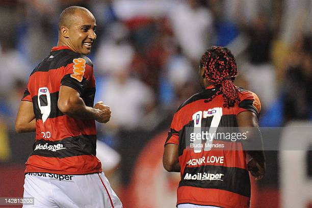 Deivid and Wagner Love of Flamengo celebrate a scored goal againist Lanus during a match between Flamengo and Lanus as part of the Copa Libertadores...