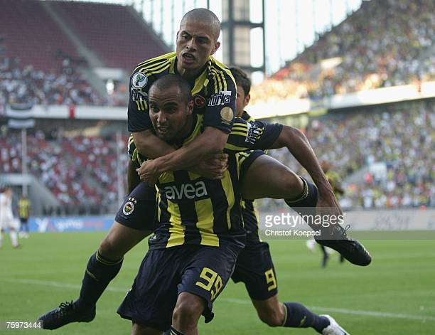 Deivid de Souza of Fenerbahce celebrates his first goal with Alex de Sousa during the Sueper Kupa Cup match between Fenerbahce SK and Besiktas JK at...