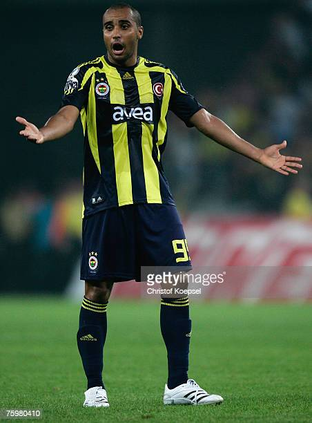 Deivid de Souza of Fenerbahce looks thoughtful during the Sueper Kupa Cup match between Fenerbahce SK and Besiktas JK at the Rhein Energie stadium on...