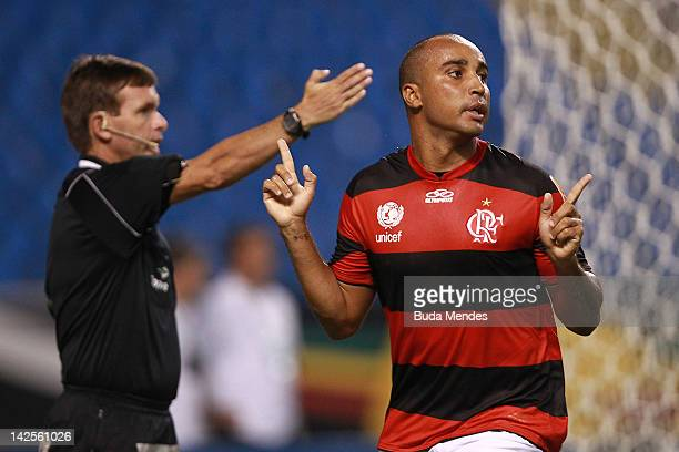 Deivid of Flamengo celebrates a scored goal againist Vasco during a match between Flamengo and Vasco as part of Rio State Championship 2012 at...