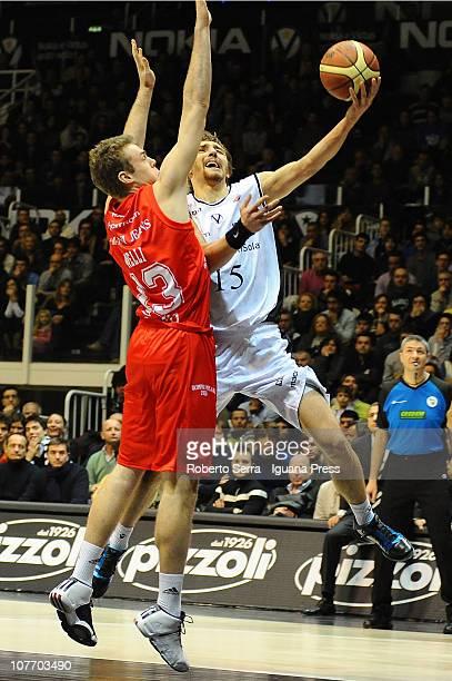 Deividad Gailius of Canadian Solar Bologna in action during the Lega Basket Serie A match between Canadian Solar Virtus Bologna and Armani Jeans...