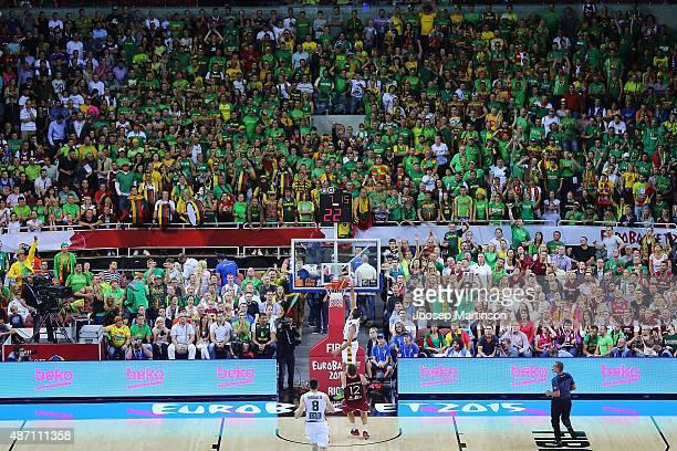 Deividas Gailius of Lithuania dunks the ball during the FIBA EuroBasket 2015 Group D basketball match between Latvia and Lithuania at Arena Riga on...