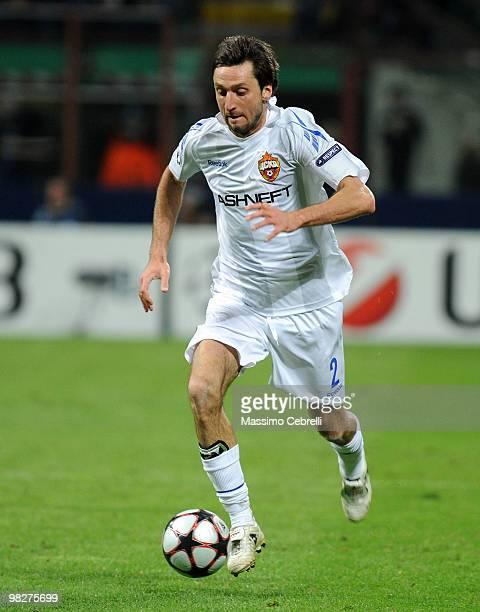 Deividas Semberas of CSKA Moscow in action during the UEFA Champions League Quarter Finals First Leg match between FC Internazionale Milano and CSKA...