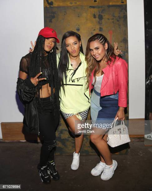 Deja Riley, Angela Simmons and Kristinia DeBarge attend Dopreroots And Traplord Present Dopeland on April 20, 2017 in Los Angeles, California.