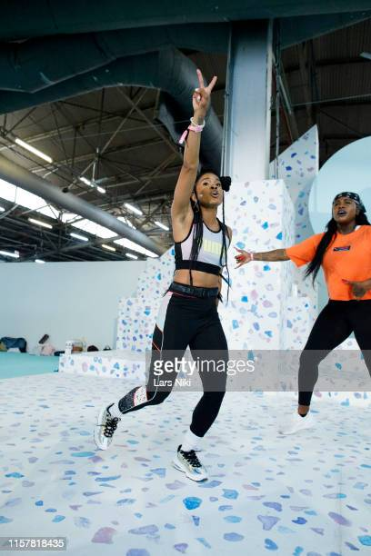 Deja Riley conducts her presentation during POPSUGAR Play/Ground at Pier 94 on June 23 2019 in New York City