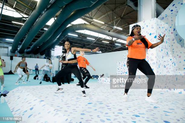 Deja Riley conducts her presentation during POPSUGAR Play/Ground at Pier 94 on June 23, 2019 in New York City.