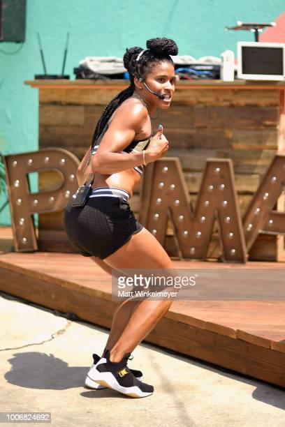 Deja Riley instructs work out during Puma's Do You Studio on July 28 2018 in Los Angeles California