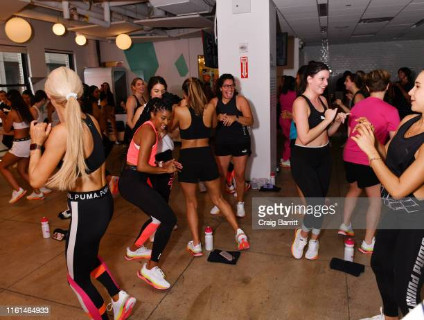 Deja Riley leads a highintensity workout class as PUMA And Refinery29 Host The Launch Of The New PUMA LQD CELL Shatter Shoe at Refinery29 on July 11...