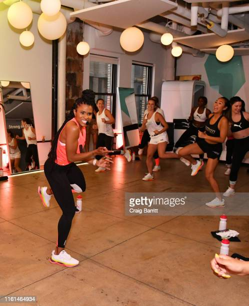Deja Riley leads a high-intensity workout class as PUMA And Refinery29 Host The Launch Of The New PUMA LQD CELL Shatter Shoe at Refinery29 on July...
