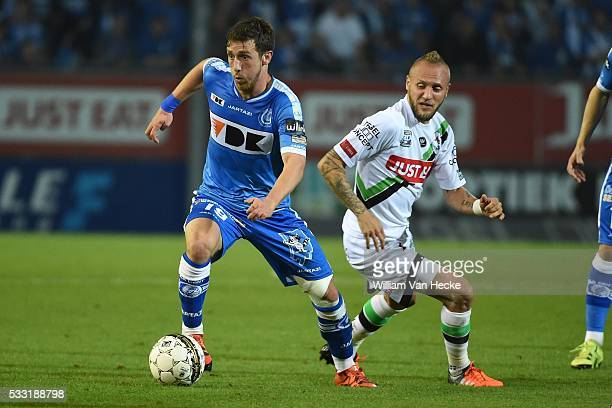 Dejaegere Brecht midfielder of KAA Gent Remacle Jordan forward of OHL during the Jupiler Pro League match between OHL OudHeverlee Leuven and KAA Gent...