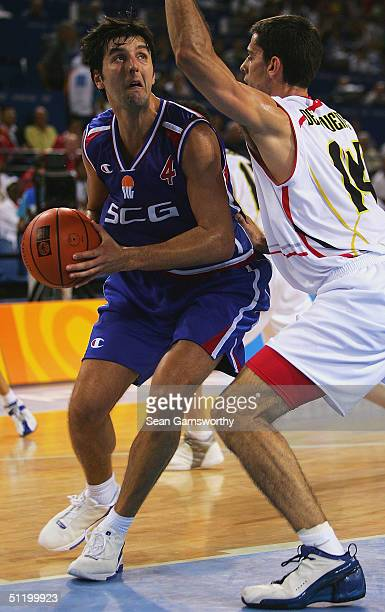 Dejan Bodiroga for Serbia in action during the men's basketball preliminary game between Spain and Serbia and Montenegro on August 21, 2004 during...