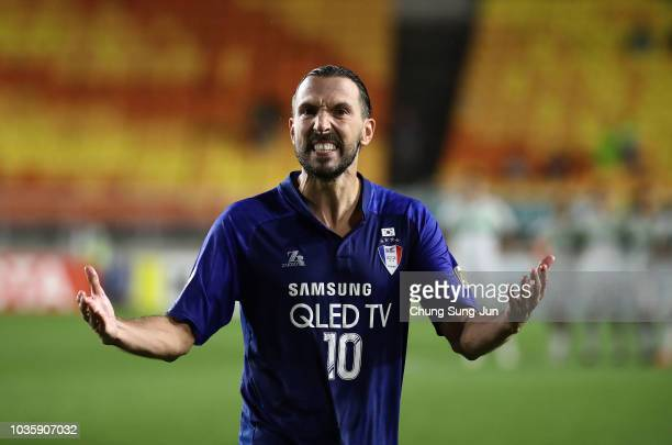 Dejan Damajanovic of Suwon Samsung Bluewings celebrates after penalty shootout during the AFC Champions League Quarter Final second leg match between...