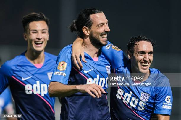 Dejan Damjanovic celebrates scoring his first goal for Kitchee during the BOC Life Hong Kong Premier League between Kitchee and Tin Shui Wai Pegasus...