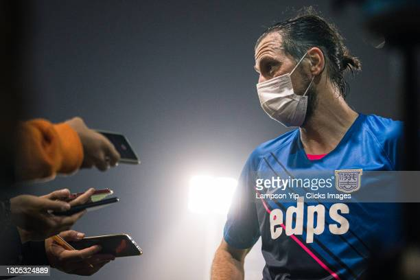 Dejan Damjanovic of Kitchee talks to the press after scoring 2 goals during the BOC Life Hong Kong Premier League between Kitchee and Tin Shui Wai...