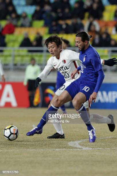 Dejan Damjanovic of Suwon Samsung Bluewings and Kento Misao of Kashima Antlers compete for the ball during the AFC Champions League Group H match...