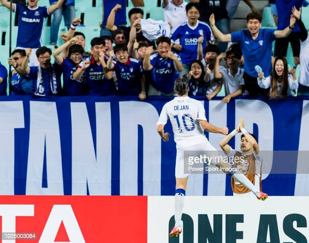 Dejan Damjanovic of Suwon Samsung Bluewings celebrates after scoring his goal during the AFC Champions League Round of 16 first leg match between...