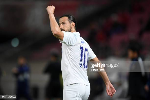 Dejan Damjanovic of Suwon Samsung Bluewings celebrates scoring his side's first goal during the AFC Champions League Group H match between Kashima...