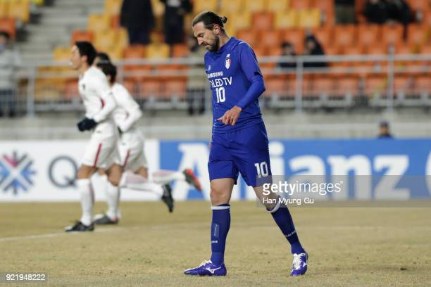 Dejan Damjanovic of Suwon Samsung Bluewings reacts after missing a penalty during the AFC Champions League Group H match between Suwon Samsung...