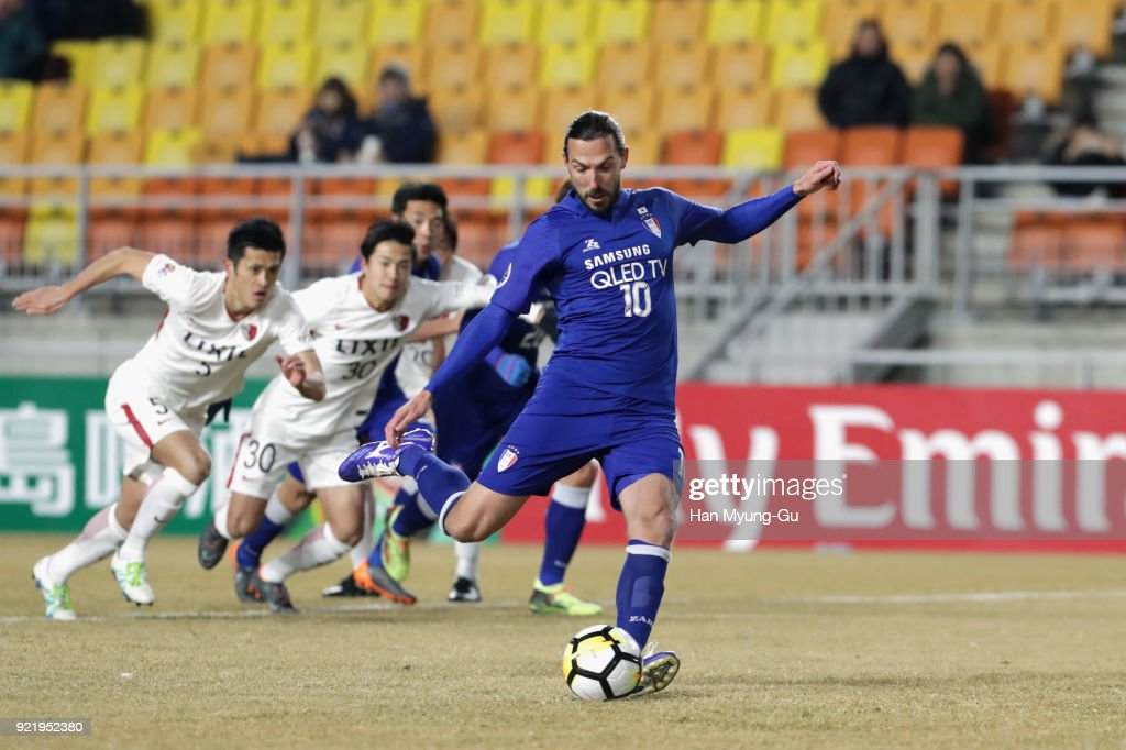 Dejan Damjanovic of Suwon Samsung Bluewings takes a penalty which was saved during the AFC Champions League Group H match between Suwon Samsung Bluewings and Kashima Antlers at Suwon World Cup Stadium on February 21, 2018 in Suwon, South Korea.