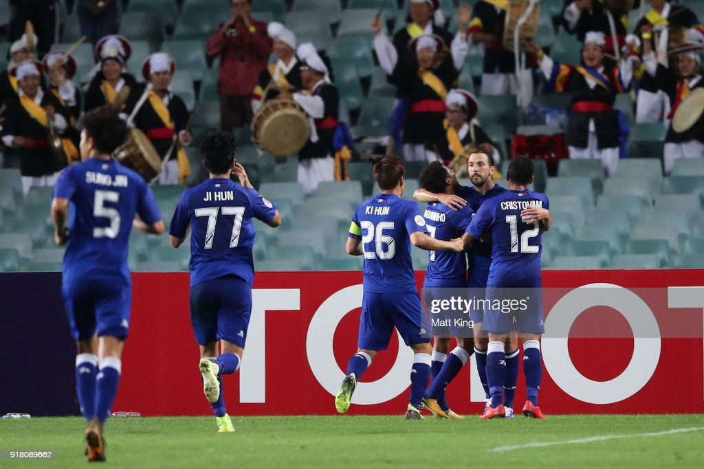 Dejan Damjanovic of the Bluewings celebrates with team mates after scoring the first goal during the AFC Asian Champions League match between Sydney FC and Suwon Bluewings at Allianz Stadium on February 14, 2018 in Sydney, Australia.