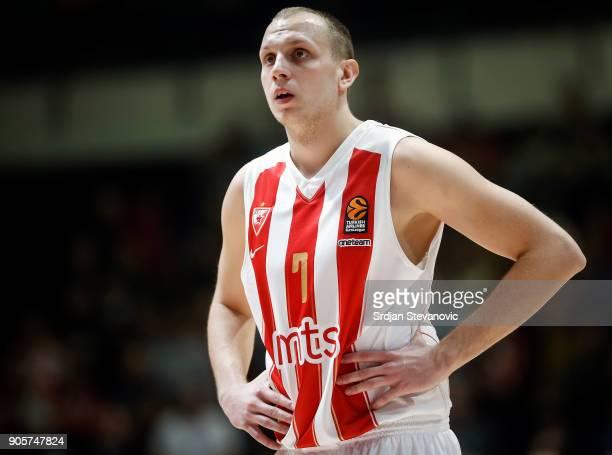 Dejan Davidovac of Crvena Zvezda looks on during the 2017/2018 Turkish Airlines EuroLeague Regular Season Round 18 game between Crvena Zvezda mts...