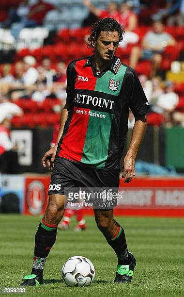 Dejan Govedarica of NecNijmegen with the ball at his feet during the preseason friendly match between Charlton Athletic and NECNijmegen on August 9...