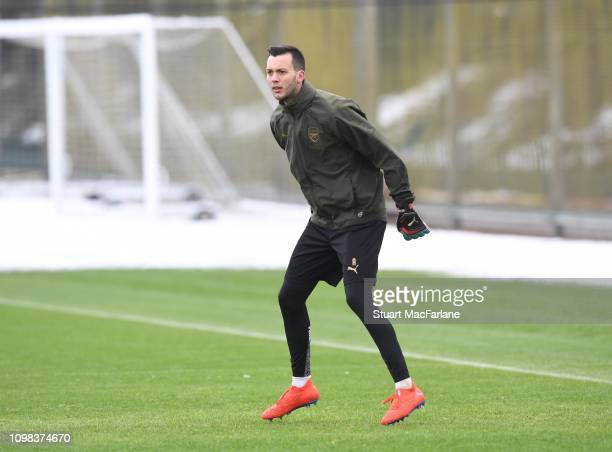 Dejan Iliev of Arsenal during a training session at London Colney on January 23 2019 in St Albans England