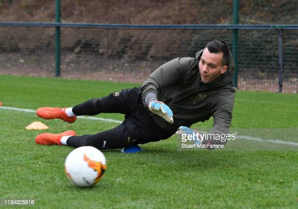 Dejan Iliev of Arsenal during a training session at London Colney on March 06 2019 in St Albans England