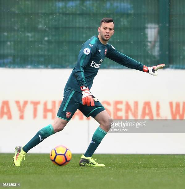 Dejan Iliev of Arsenal during the match between Arsenal U23 and Chelsea U23 at London Colney on March 17 2018 in St Albans England