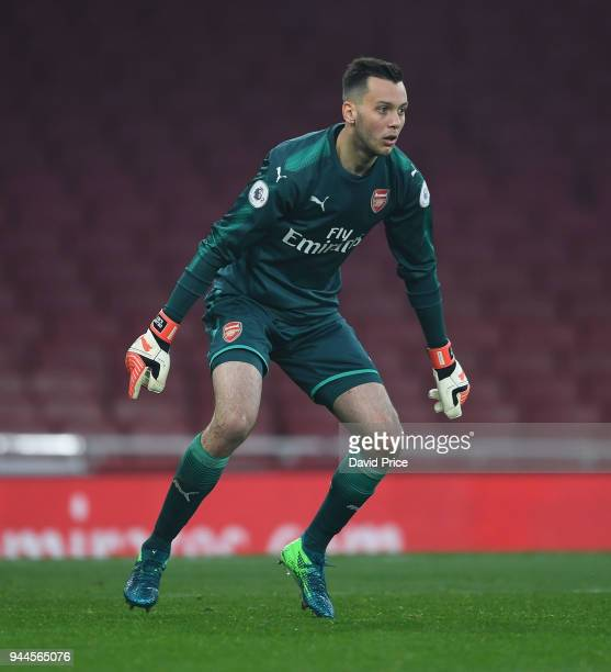 Dejan Iliev of Arsenal during the match between Arsenal U23 and Villarreal U23 at Emirates Stadium on April 10 2018 in London England