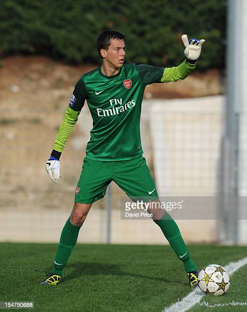 Dejan Iliev of Arsenal during the NextGen Series match between Olympic Marseille U19 and Arsenal U19 on October 25 2012 in Marseille France