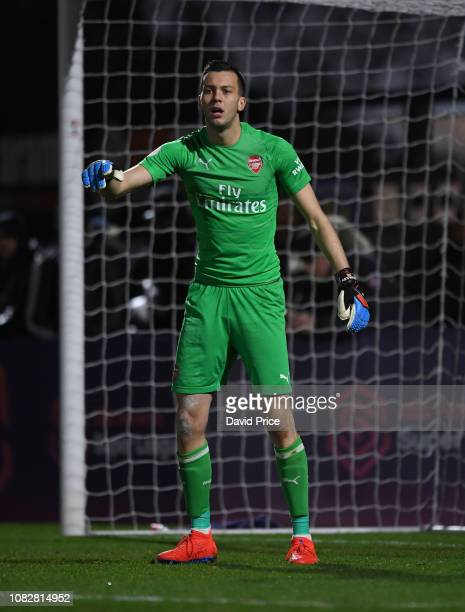 Dejan Iliev of Arsenal during the PL2 match between Arsenal and Manchester City at Meadow Park on January 14 2019 in Borehamwood England