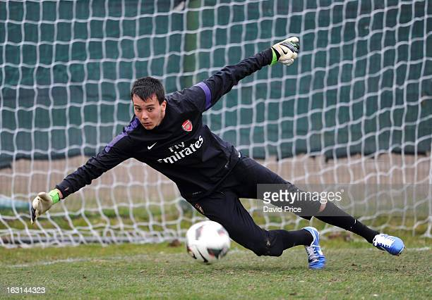 Dejan Iliev of Arsenal in action during a training session prior to the NextGen Series match between Inter Milan and Arsenal at Inter Milan Training...