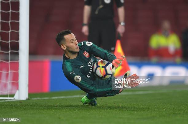 Dejan Iliev of Arsenal saves a penalty during the shoot out during the match between Arsenal U23 and Villarreal U23 at Emirates Stadium on April 10...